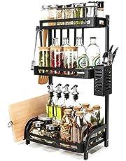 Yorbay Gratis staande kruidenrek organizer keuken aanrecht opslag, werkblad rek, 3-tier roestvrij staal kruidenfles potten rek met servies mes houder snijplank rek, zwart