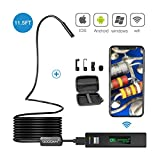 11.5FT Wireless Inspection Camera, GOODAN Updated 1200P HD Wifi Endoscope borescope with 2.0 Megapixels Snake Camera for Iphone Android Smartphone, Table, Ipad, PC (3.5M WIFI ENDOSCOPE)
