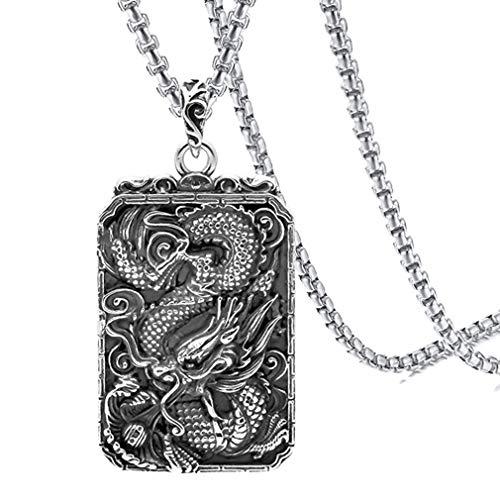 Xusamss Hip Hop Titanium Steel Animal Dog Tag Pendant Dragon Chain Necklace,24inches ()