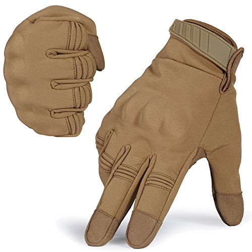 WTACTFUL Winter Windproof Warmer Touch Screen Military Rubber Hard Knuckle Tactical Gloves Full Finger Gloves for Cycling Motorcycle Hunting Snowboard Riding Bicycle Work Outdoor Brown Size Medium