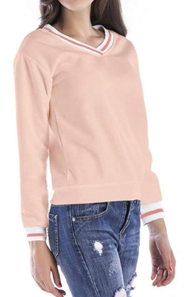 Cromoncent Womens V-Neck Knitted Striped Pullover Jumper Sweatshirts