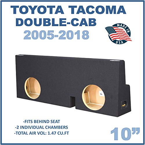 "Fits Toyota Tacoma Double-Cab 2005-2018 10"" Dual Sealed Subwoofer Enclosure"