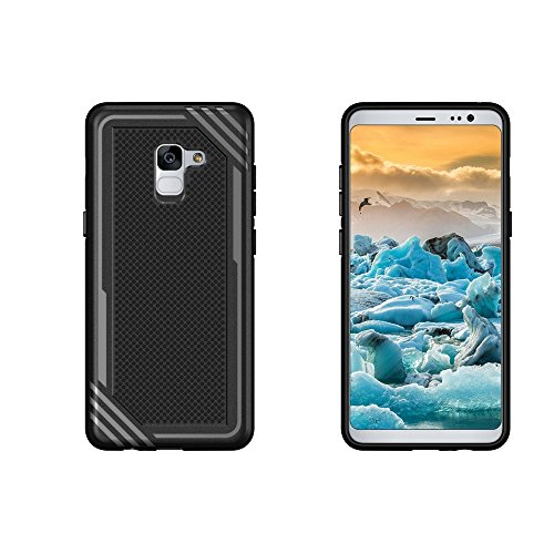 Caja texturizada a prueba de golpes suave TPU para Samsung Galaxy A8 + (2018) ( Color : Gray ) Black