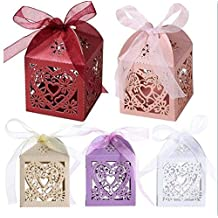 Lingstar 50 PCS Love Heart Laser Cut Candy Gift Boxes Wedding Party Baby Shower Candy Boxes White