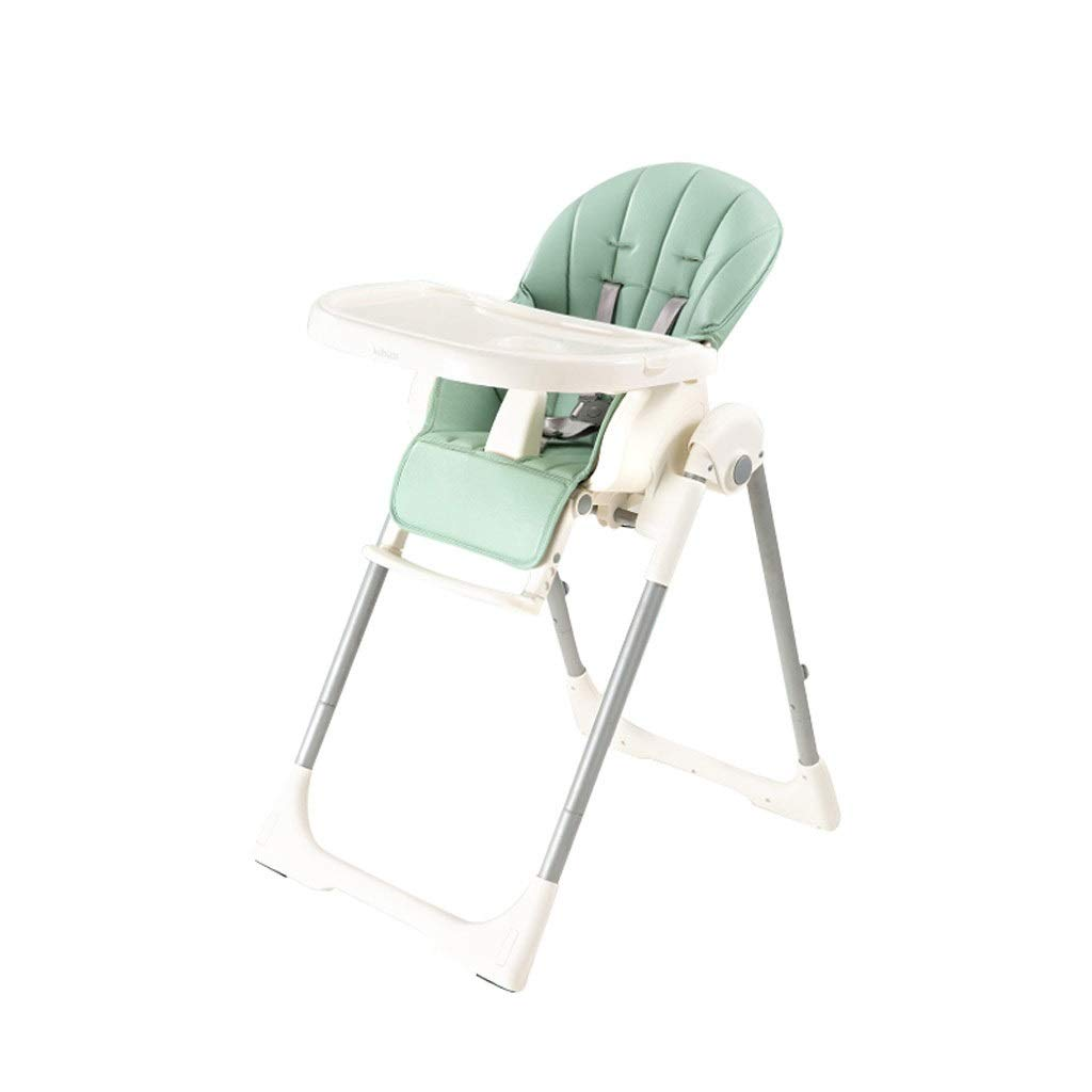HFY ベビーハイチェア、折りたたみ式ポータブル子供用ダイニングチェアPUシートクッションのお手入れが簡単、グリーンブルー2色 (色 : 緑)  緑 B07S3VF419