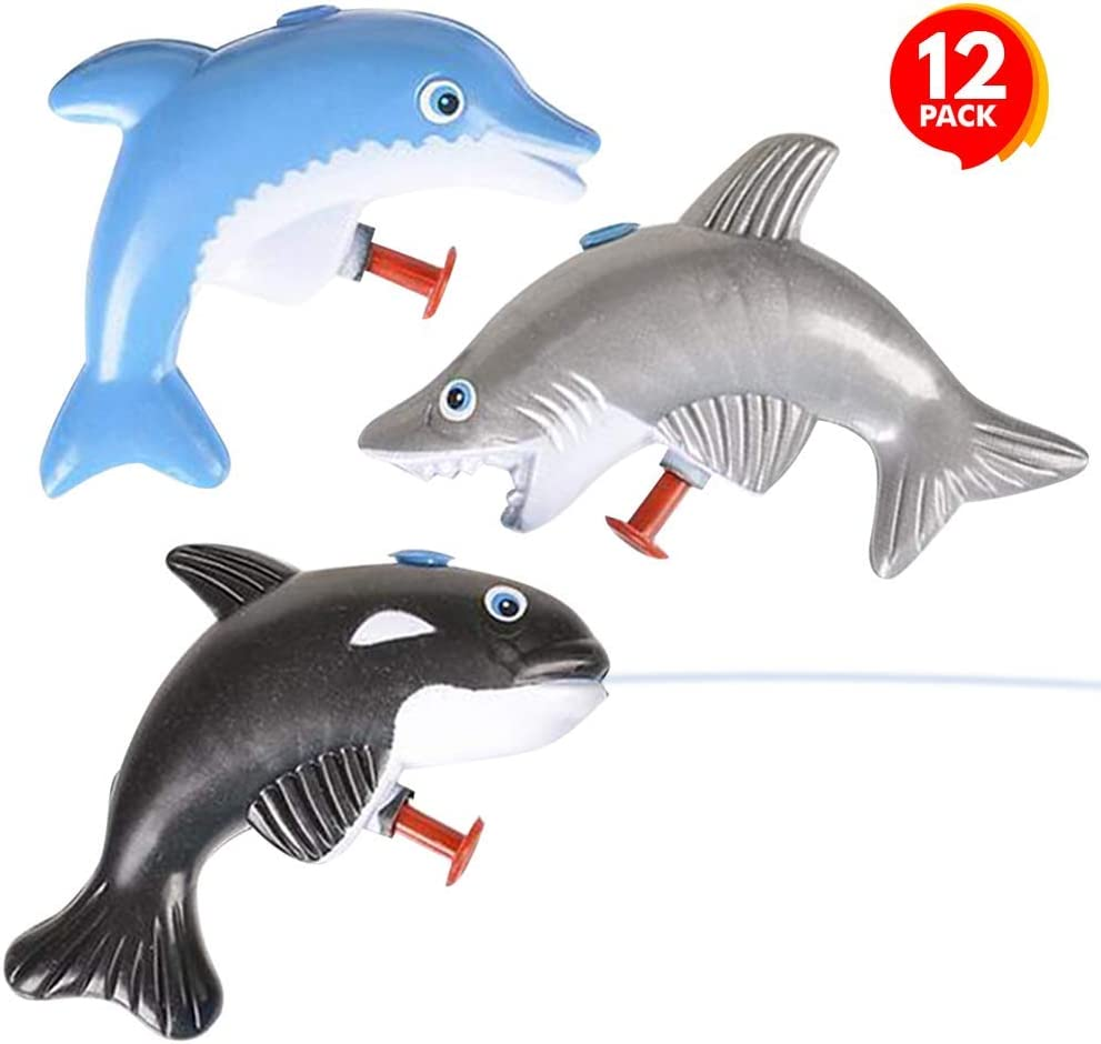 ArtCreativity Sea Animal Water Squirters, Pack of 12, Dolphin, Shark, and Whale Water Squirt Toy Guns for Swimming Pool, Beach, and Outdoor Summer Fun, Cool Birthday Party Favors for Boys and Girls