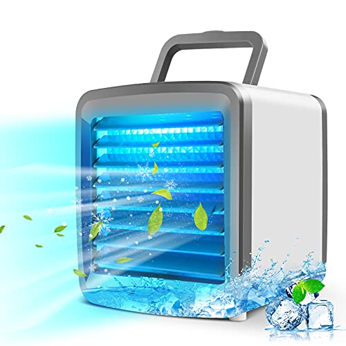 Portable Personal Air Conditioner Cooler, Office Silent Mini Evaporative Air Fan, USB Rechargeable Small Desktop Fan, 7…