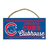 """MLB Chicago Cubs Wood Sign with Rope, Blue, 5 x 10"""""""