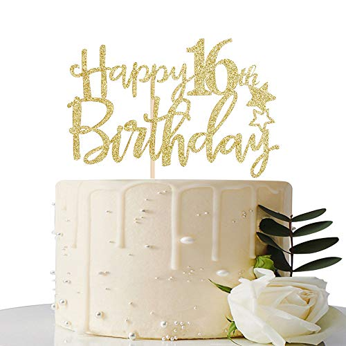 MaiCaiffe Gold Glitter Happy 16th Birthday Cake Topper,Hello 16, Cheers to 16 Years, 16 & Fabulous ,Sweet 16 Party Decoration
