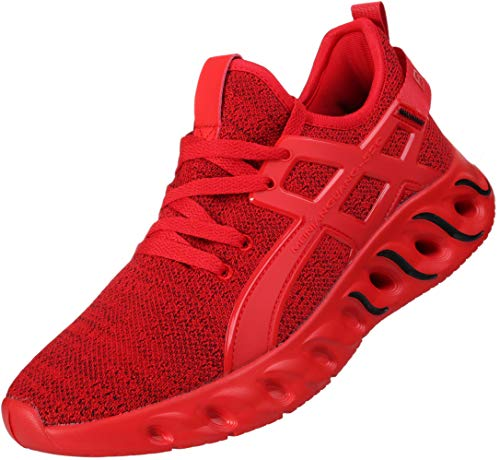 BRONAX Running Shoes for Men Slip On Comfort Stylish Tennis Walking Casual Sports Workout Gym Fitness Athletic Sneakers for Male Red Size 13