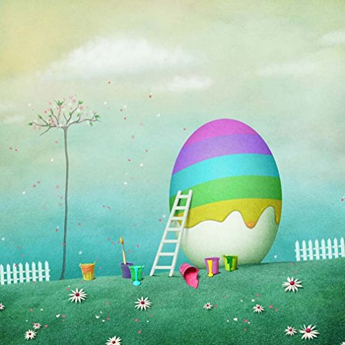 Estudio 350 - Easter Paint Egg Photo Backdrop Seamless Floral Tree White Fence Flower Green Grass Spring Fairy Photography Studio Background 10x10 ft