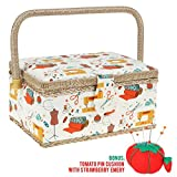 Large Sewing Box with Accessories Sewing Storage and Organizer with Complete Sewing Kit Tools - Wooden Sewing Basket with Removable Tray and Tomato Pincushion for Sewing Mending - White