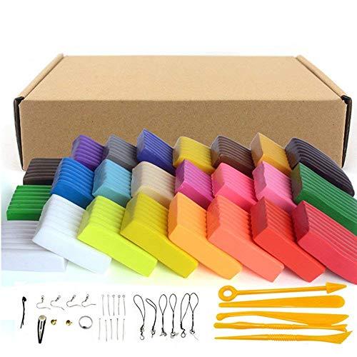 Set de bloques de arcilla polimérica para modelado, 24 colores, adecuada para hornear, segura y no tóxica, regalo ideal...
