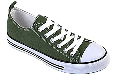 Shop Pretty Girl Women's Sneakers Casual Canvas Shoes Solid Colors Low Top Lace up Flat Fashion (Six, Olive)