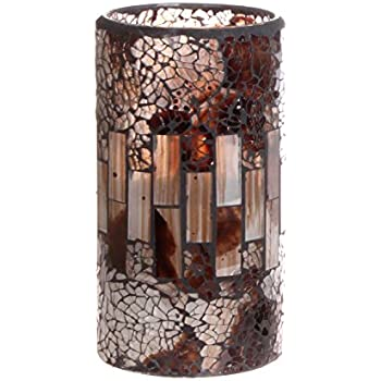 GiveU Crack Mosaic Glass Flameless Brown Pillar Led Wax Candle with Timer, 3X6