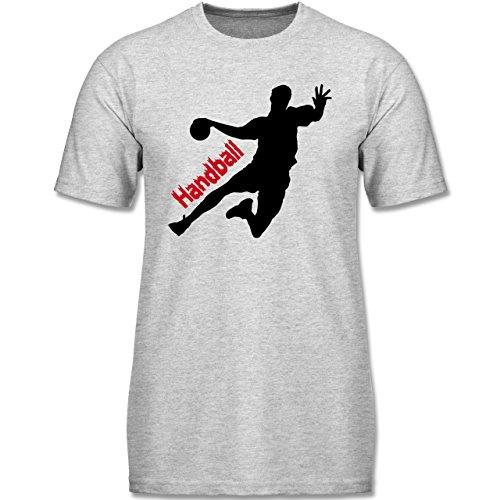 Sport Kind - Handball - 164 (14-15 Jahre) - Grau meliert - F140K - Kinder T-Shirt für Mädchen und Jungen