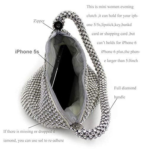 Evening Clutch Sliver Silver Purse Bag Party Bag Women's Full upgrade Prom Wedding Topchances Triangle Rhinestones qHXwI6