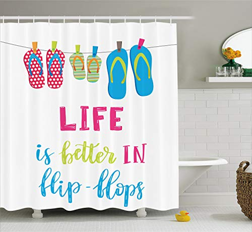 Ambesonne Summer Shower Curtain, Life is Better in Flip Flops Message with Polka Dotted and Striped Hanging Slippers, Cloth Fabric Bathroom Decor Set with Hooks, 75 Inches Long, Multicolor