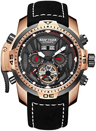 Reef Tiger Sport Luminous Watches Rose Gold Leather Strap Analog Automatic Men s Watch RGA3532