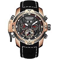 [Patrocinado] Reef Tiger Sport luminoso Relojes oro rosa correa de piel analógico reloj de Hombre Automático rga3532