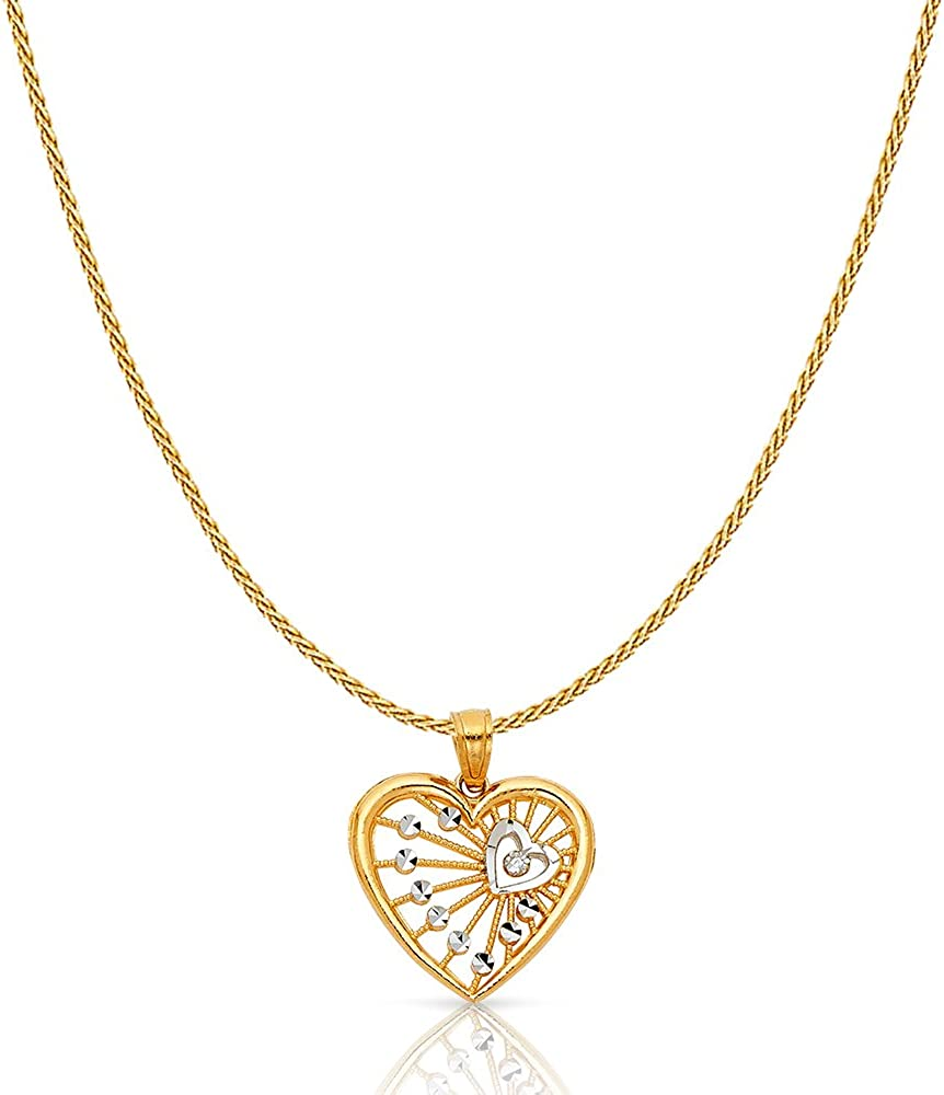 14K Two Tone Gold Fancy Webbed Heart Charm Pendant with 0.9mm Wheat Chain Necklace