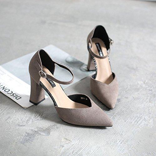 scanalati scarpe wild la con per grigio 37 donna punta molla satin spesso La HwqR40Rx