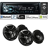 """Pioneer Package DEH-X4800BT Single DIN In-Dash CD/AM/FM Bluetooth Car Stereo with 300 Watts 6-1/2"""" 2-Way Coaxial Car Speakers ( 2 PAIRS)"""