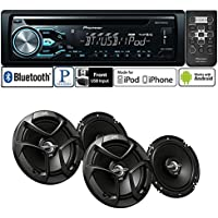 Pioneer Package DEH-X4800BT Single DIN In-Dash CD/AM/FM Bluetooth Car Stereo with 300 Watts 6-1/2 2-Way Coaxial Car Speakers ( 2 PAIRS)