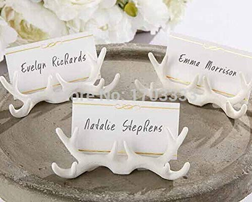 Holder Card - 2016 White Resin Antler Place Card Holder With Wedding Decoration Cards Table Dhl Fedex Free - Cellphone Id On Money Board Back Wood Envelopes Earring - White Earrings Id