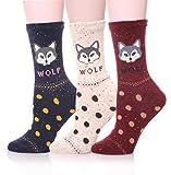 EBMORE Women Cute Animal Cartoon Fashion Casual Soft Wool Cotton Socks - 3 Pack (Wolf Polka Dots)