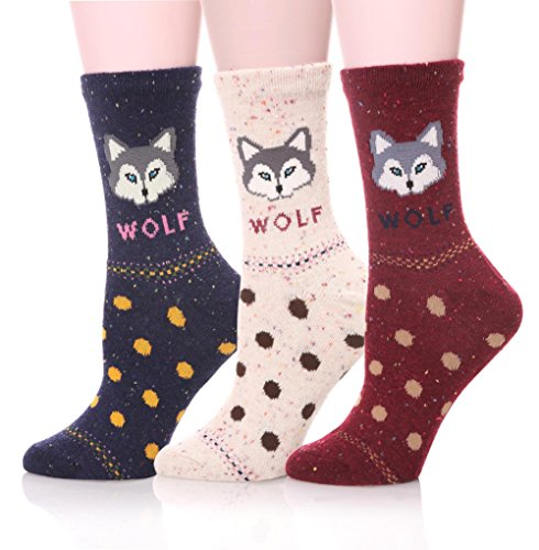 Ebmore Women Cute Animal Cartoon Fashion Casual Soft Wool Cotton Socks   3 Pack  Wolf Polka Dots