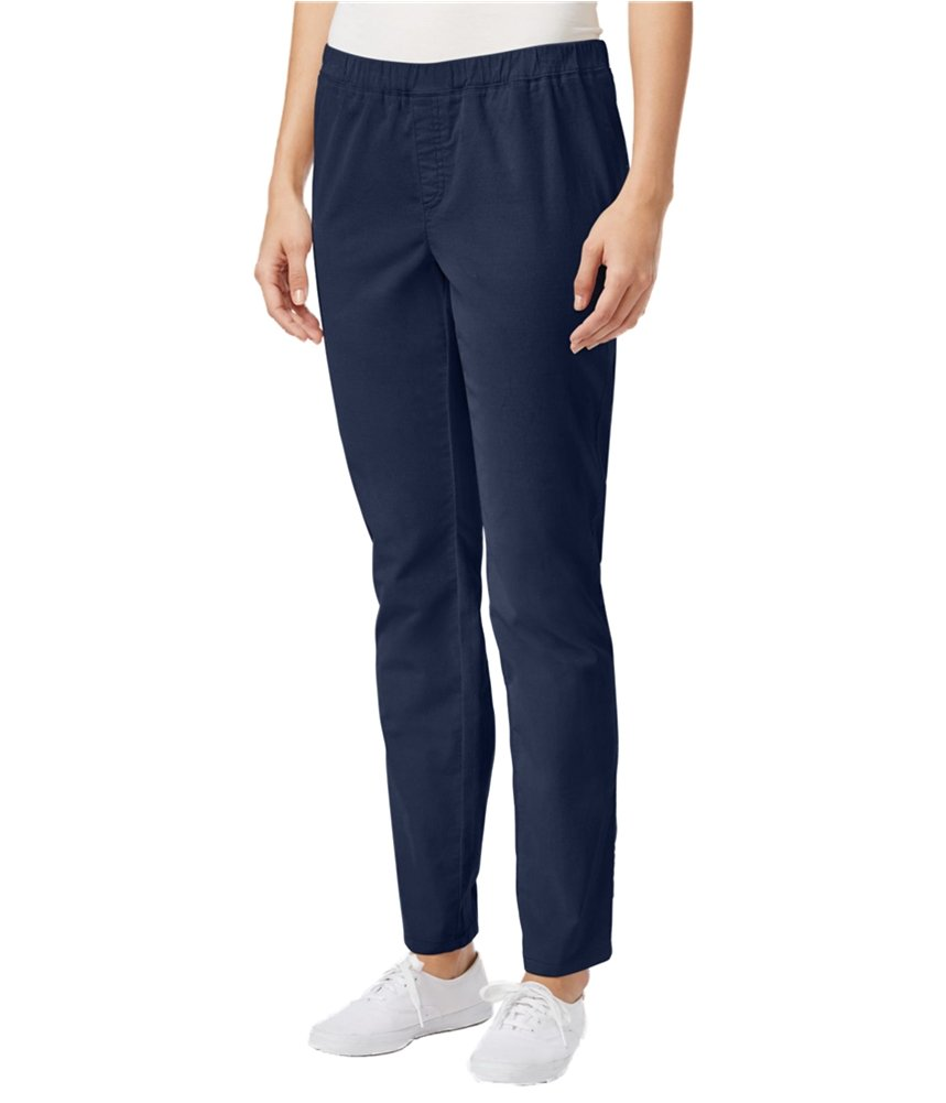 Karen Scott Womens Petites Textured Straight Fit Casual Pants Navy PS