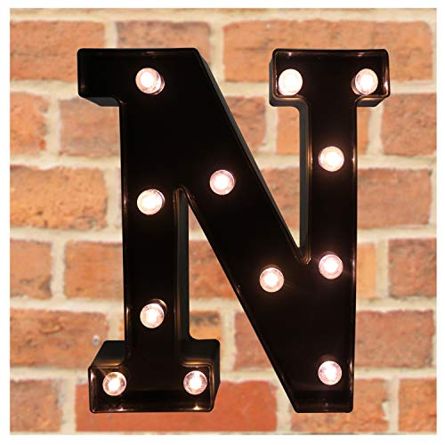- Pooqla Decorative LED Illuminated Letter Marquee Sign - Alphabet Marquee Letters with Lights for Wedding Birthday Party Christmas Night Light Lamp Home Bar Decoration N, Black