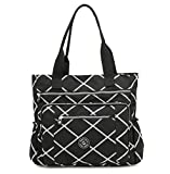 Nylon Waterproof Multi Pockets Large Lightweight Tote Bag Shoulder Bag for Gym Hiking Picnic Travel Beach Water Resistant Tote Bags (Black Rhomb ZC)