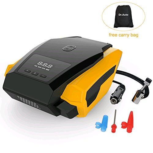 Auto-Shut-Off-12v-Car-Tire-Inflator-Air-Compressor-Pump-150PSI-Preset-Tire-Pressure-with-Emergency-Flashlight-3-Air-Nozzle-for-BallBikeAirbedMotorcycle-by-DrAuto