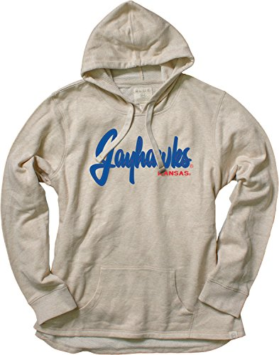 Blue 84 NCAA Kansas Jayhawks Women's French Terry Pullover Hoodie with Applique, Small, Oatmeal