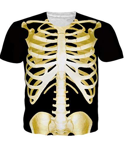Idgreatim Men 3D Graphic Short Sleeve Printed Skeleton Halloween T-Shirt Tees XL