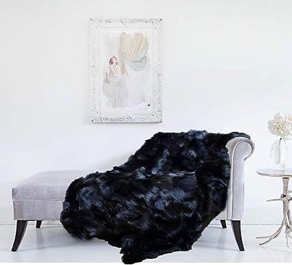 Amazon.com: Moda Furs Genuine 100% New Natural Black Fox Fur ...