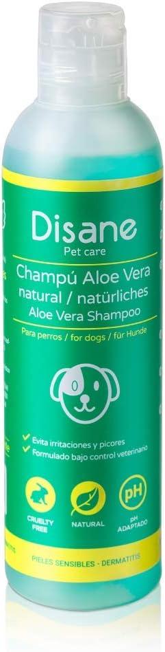 Disane Champú Para Perros Natural con Aloe Vera | 250ml | Pieles Sensibles y Atópicas, con Heridas, Dermatitis o Eccemas | pH Adaptado | Formulado para Perro y Cachorro Bajo Control Veterinario
