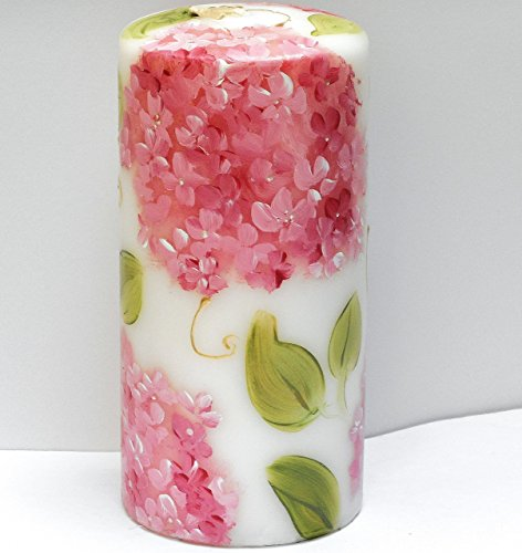 (Large Decorative Romantic Hand Painted Pink Hydrangea Flower Pillar Candle with Golden Swirls)