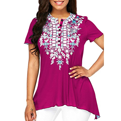 (♖Loosebee♜ Women's V Neck Mesh Panel Blouse 3/4 Bell Sleeve Loose Top Shirt)