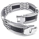 KONOV Mens Rubber Stainless Steel Bracelet, Wide Link, Silver Black