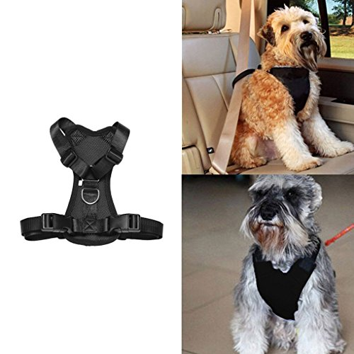 (Pet Dog Soft Mesh Padded Adjustable Flexfit Car Automotive Seat Safety Strap Vest Harness Vehicle Seatbelt Lead Leash Clip Training Halter Travel For Small/Medium/Large Dogs Cats)