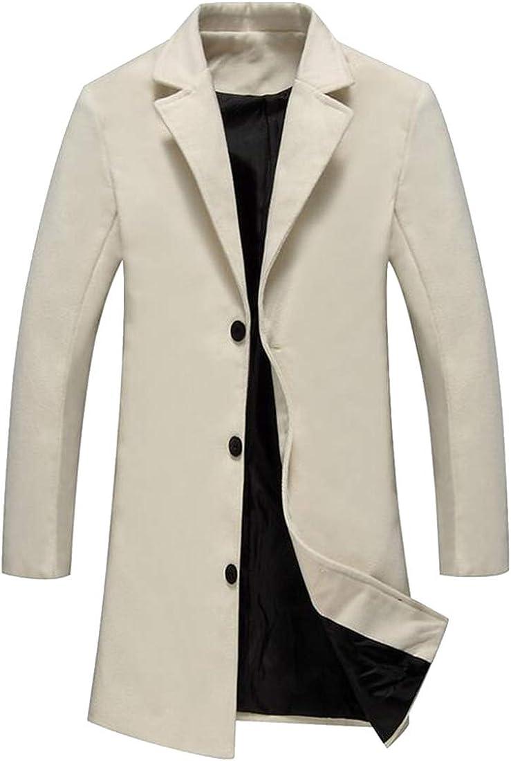 XiaoTianXinMen XTX Mens Plus Size Longline Fall Winter Single Breasted Solid Wool Blend Peacoat Trench Coat Jacket 1 2XL