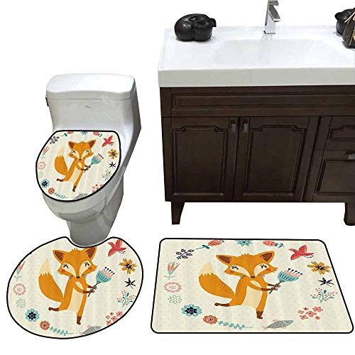 (3 Piece Toilet lid Cover mat Set Cartoon Cute Animal with Floral Flowers Leaves Fish Detailed Frame Printed Rug Set Eggshell Coral Almond Green)