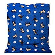 Fancy Linen Faux Fur and Flannel Baby Blanket With Sherpa Backing Warm and Cozy Stroller or Toddler Bed Blanket 40 x 50  New # Monkey Blue