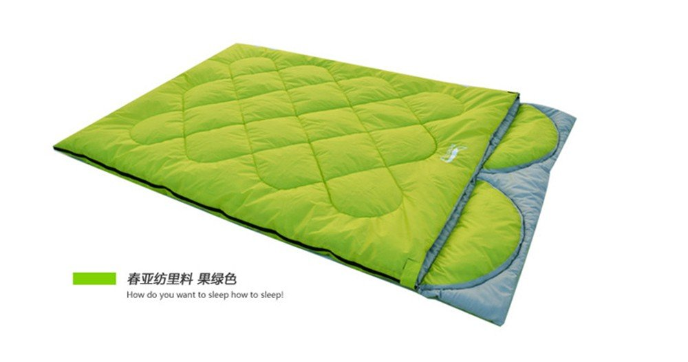Sacos de dormir al aire libre la primavera y el otoño y el invierno engrosada Camping,Pan doble bolsa de dormir con almohada desmontable.