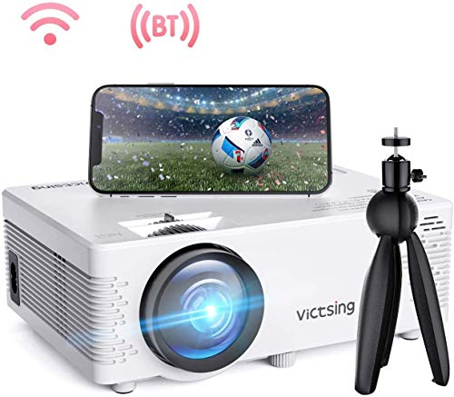 WiFi Projector, 4200L Wireless Bluetooth Mini Projector with Tripod, 1080P 170'' Display Supported, Compatible with TV Stick, PS4, DVD, Portable Projector for Home Entertainment