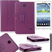 "Tablet Samsung Galaxy Tab 4 7inch Cover,Beebiz Ultra Slim Lightweight PU Leather Stand Case Cover for Samsung 7.0""GALAXY Tab 4 Tablet with Screen Protector and Touch pen(Purple)"