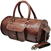 Jaald 18″ Leather Duffle Bag Travel Carry-on Luggage Overnight Gym Weekender Bag